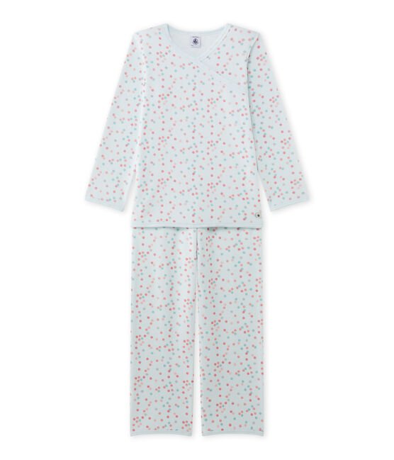 Girl's terry velour pyjamas Bocal blue / Multico white