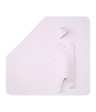 Unisex baby's gift set in 1 x 1 rib.