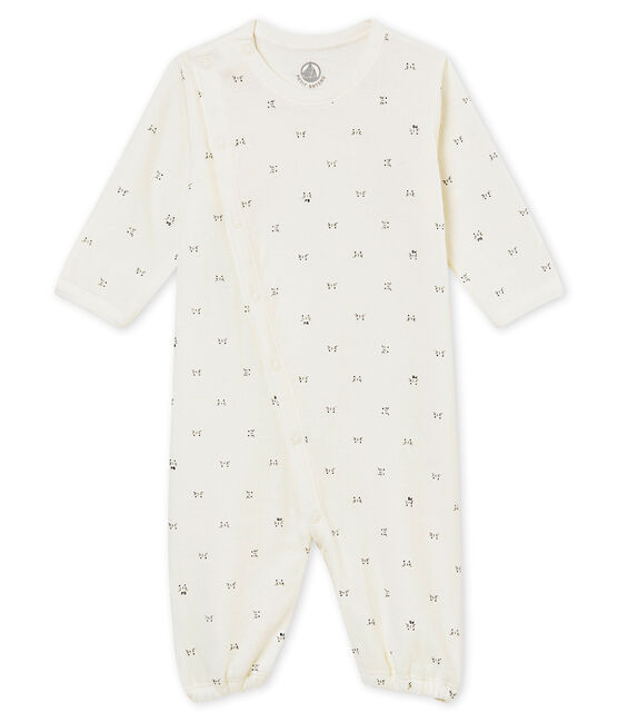 unisex baby's combi sleepsuit in a print tubic Marshmallow white / Noir black