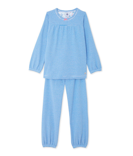 Girl's milleraies striped pyjamas Delphinium blue / Ecume white