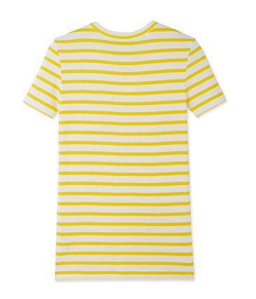 Women's T-shirt in heritage striped rib Shine yellow / Marshmallow white