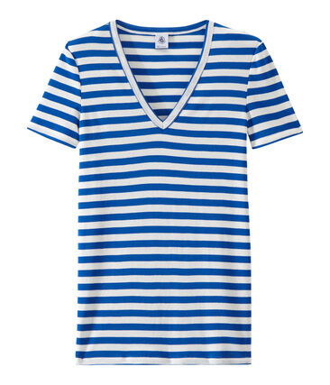Women's striped original rib V-neck T-shirt