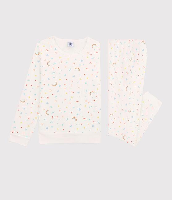 Girls' Confetti Print Fleece Pyjamas Marshmallow white / Multico white