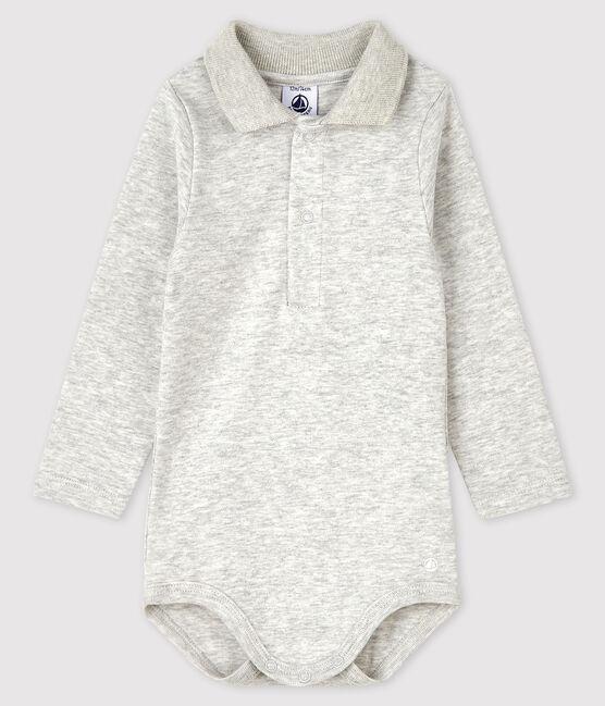 Baby's long-sleeved bodysuit with polo neck Beluga grey
