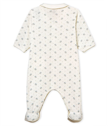 Baby boys' sleepsuit in printed 1x1 rib knit Marshmallow white / Multico white