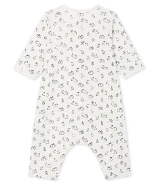 Babies' Footless Ribbed Sleepsuit Marshmallow white / Toudou blue