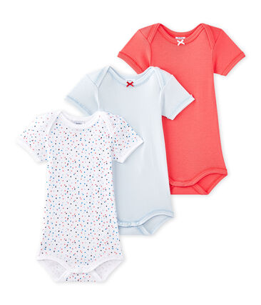 Set of 3 baby girls' short-sleeved bodysuits