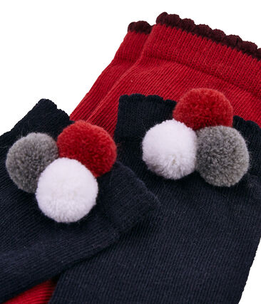 Set of 2 pairs of socks, plain and with pompom