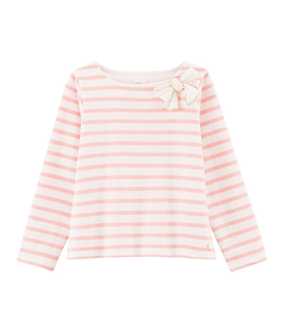 Girl's Sailor Top with Bow Marshmallow white / Patience pink