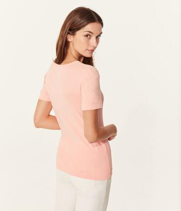 Women's short-sleeved v-neck iconic t-shirt Rosako pink