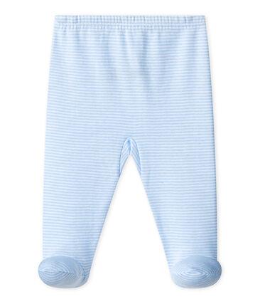 UNISEX BABY PLAIN PANTS WITH FEET Fraicheur blue / Ecume white