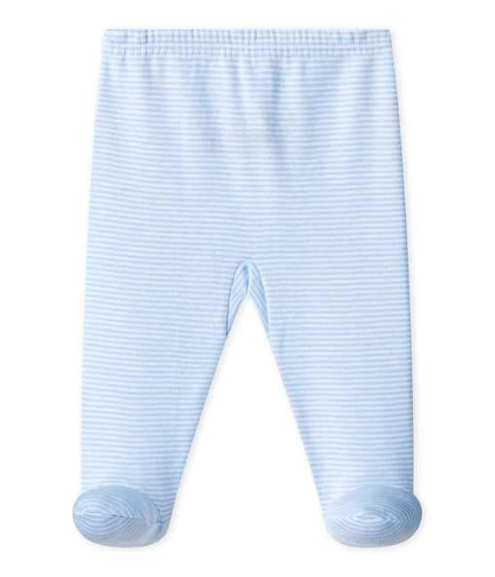 UNISEX BABY PLAIN PANTS WITH FEET Fraicheur blue / Ecume white