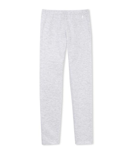 Girls' plain stretch cotton leggings Poussiere grey