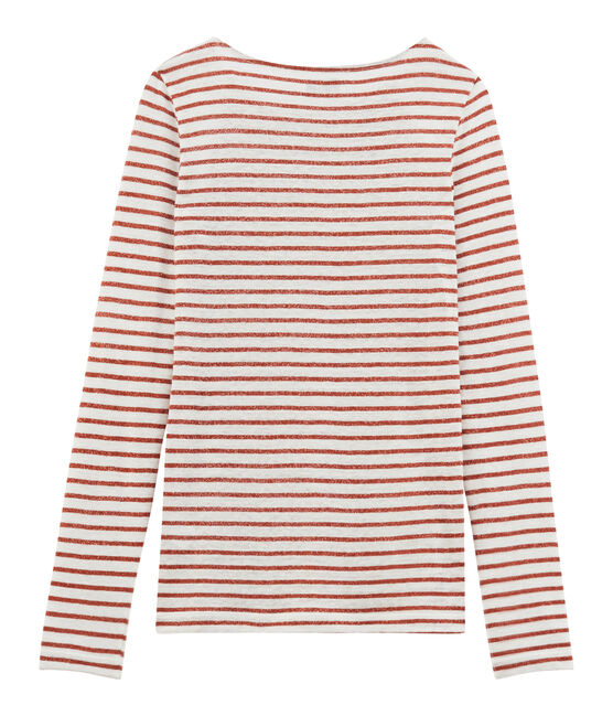 Women's long-sleeved iconic linen t-shirt Marshmallow white / Copper pink