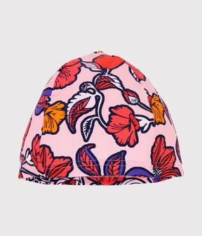 Anti-UV UPF 50+ swimming cap for girls Patience pink / Multico white