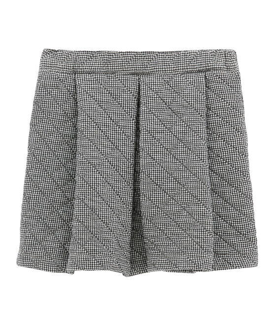 Girl's quilted double knit skirt Capecod grey / Marshmallow white