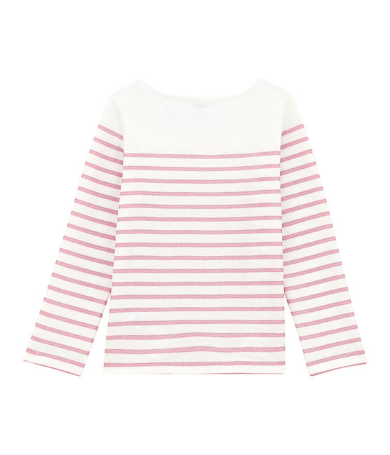 Girl's T-shirt with long sleeves Marshmallow white / Babylone pink