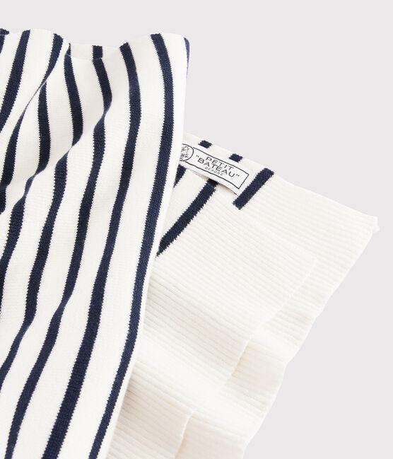 Women's/Men's stripy scarf Marshmallow white / Smoking blue