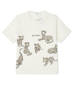 Short-sleeved T-shirt for baby boys Marshmallow white