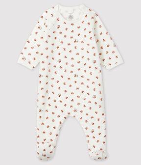 Babies' Fox Print Fleece Sleepsuit Marshmallow white / Multico white