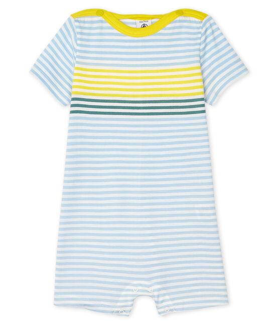 Stripy playsuit for baby boys Marshmallow white / Multico white