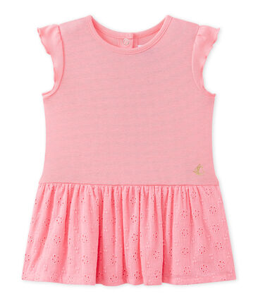 Baby girl's dress with butterfly sleeves Petal pink