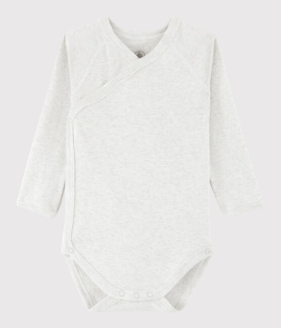Unisex Babies' Short-Sleeved Wrapover Bodysuit Montelimar Chine grey