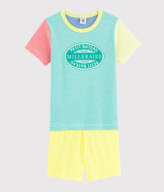 Boys' Multicoloured Striped Ribbed Pyjamas Esperanza green / Multico white