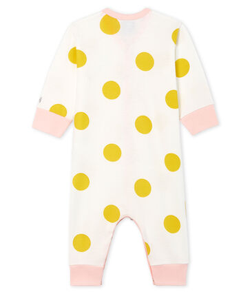 Baby Girls' Footless Ribbed Sleepsuit Marshmallow white / Ble yellow