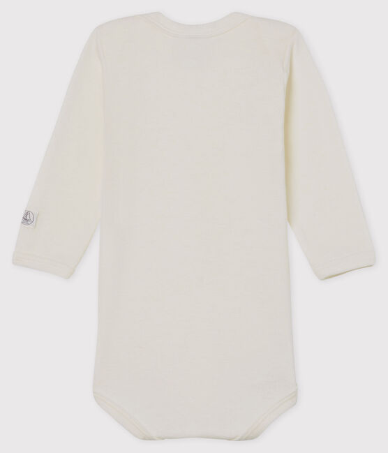 Babies' White Long-Sleeved Bodysuit in Cotton/Wool Marshmallow white