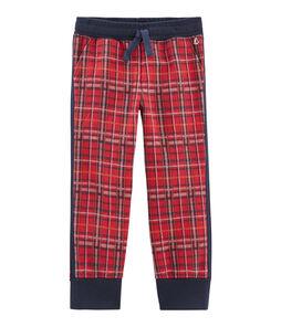 Boys' Tartan Knit Trousers Terkuit red / Smoking blue