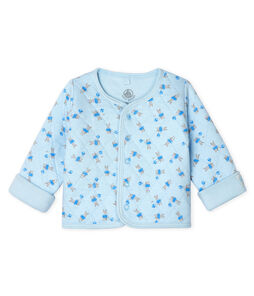 Babies' Quilted Tube Knit Cardigan Fraicheur blue / Multico white