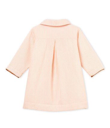 Baby girls' striped coat Marshmallow white / Rosako pink