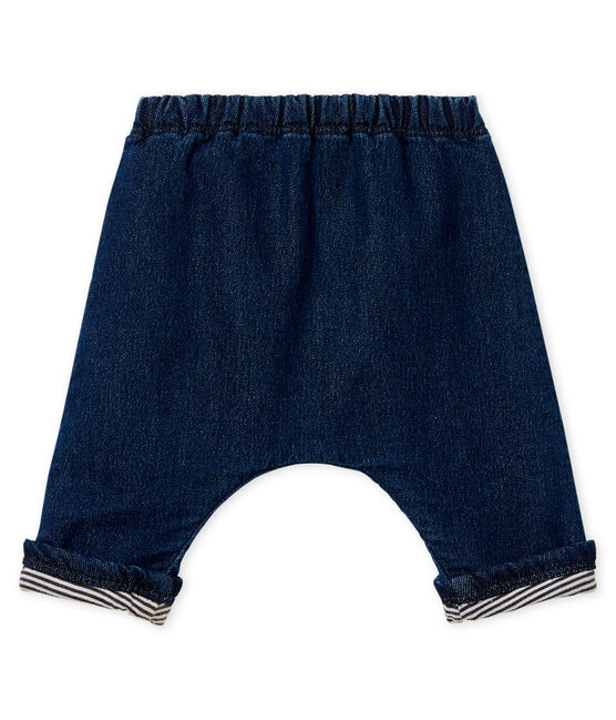 Unisex baby trousers in denim effect lined knit Denim Bleu Fonce blue