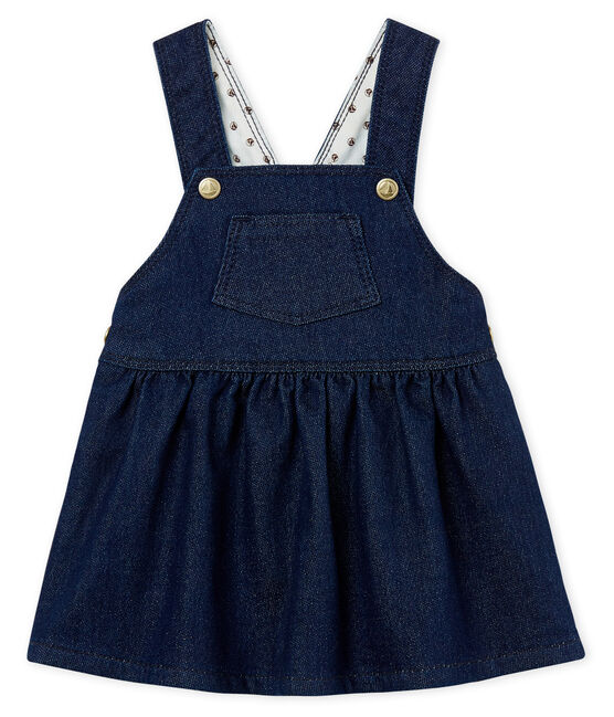 Baby girls' dungaree dress in denim look jersey Medieval blue / Ecru Cn beige