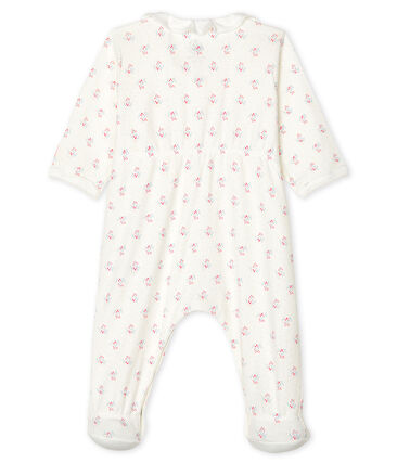 Baby Girls' Ribbed Sleepsuit Marshmallow white / Multico white