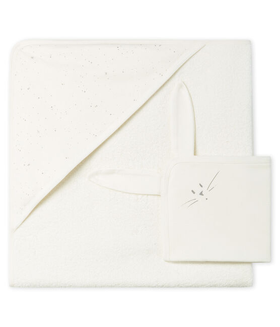 Babies' Square Bath Towel & Comforter in Terry and Tube Knit Marshmallow white / Multico white