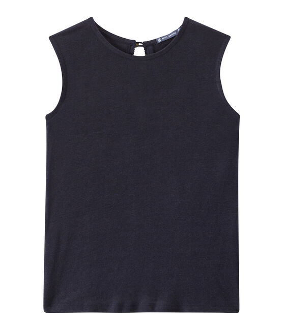 Women's linen sleeveless top Smoking blue