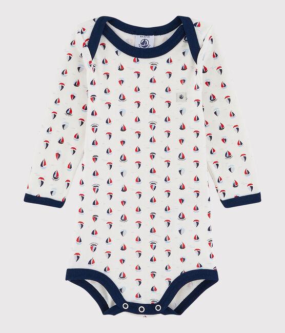 Baby Boys' Long-Sleeved Bodysuit Marshmallow white / Medieval blue