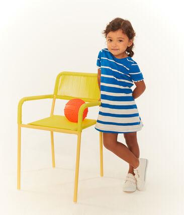 Baby girls' striped dress Riyadh blue / Marshmallow white