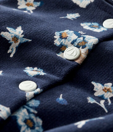 Baby Girls' Print Fleece Cardigan Smoking blue / Multico white