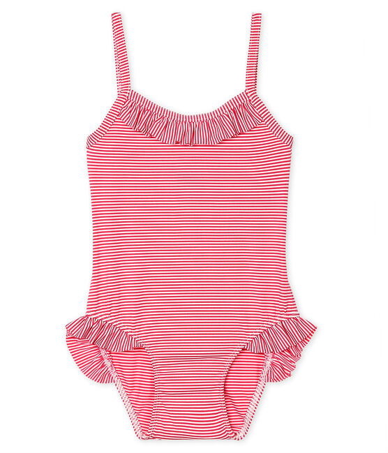 Baby Girls' UPF 50+ One-Piece Swimsuit Geisha pink / Marshmallow white