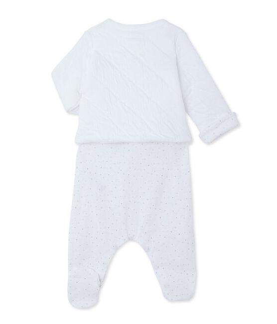 Baby cardigan and sleepsuit set Ecume white