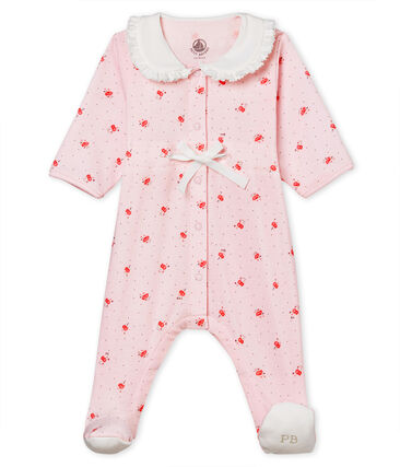 Baby girls' sleepsuit in printed 1x1 rib knit