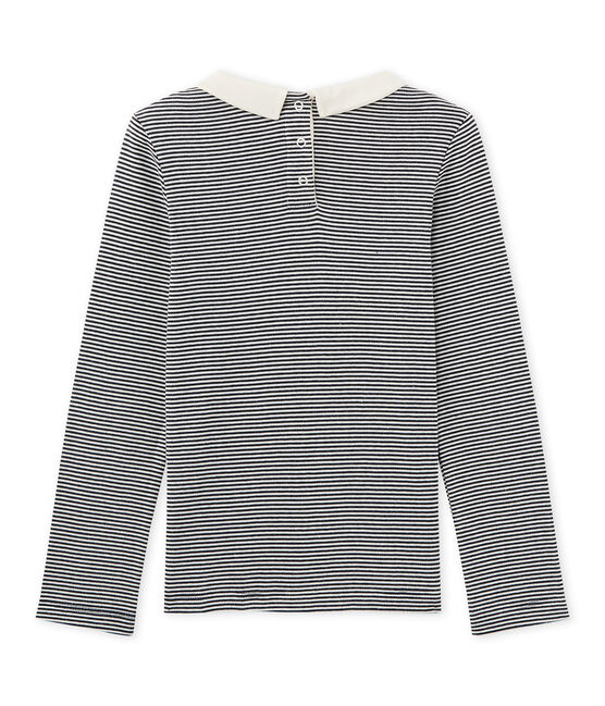 Girls' long-sleeved ribbed T-shirt Smoking blue / Coquille beige