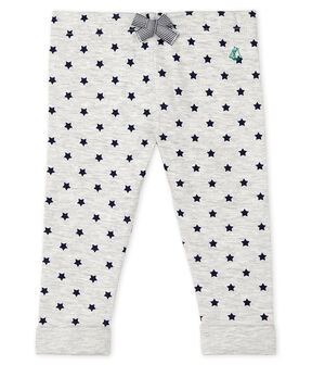 Unisex Baby's Print Tube Knit Trousers. Beluga grey / Smoking blue