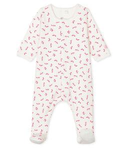 Baby Girls' Tube Knit Bodyjama Marshmallow white / Groseiller pink
