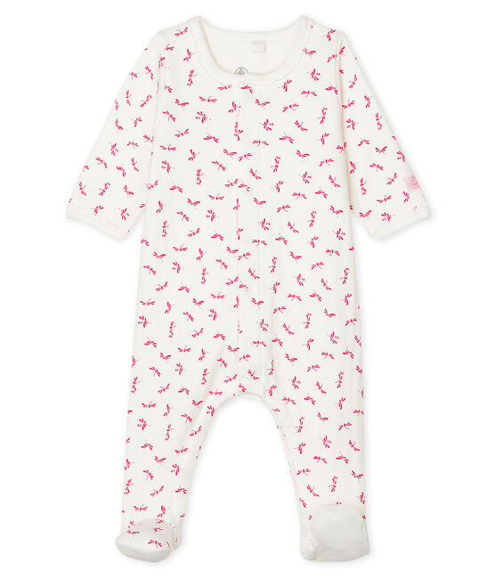 Baby Girls' Tube Knit Bodyjama Marshmallow white / Groseiller pink