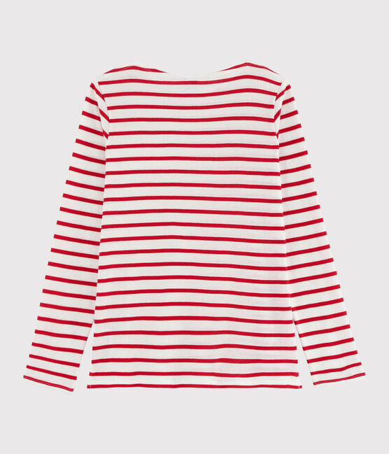 Girls' and Boys' Sailor T-shirt Marshmallow white / Peps red