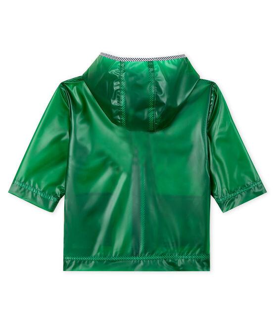 Unisex transparent waxed coat for babies Prado green